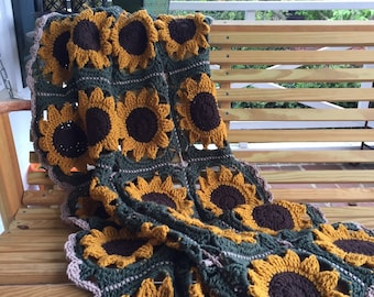 Handmade Granny Square Sunflower Afgan  dorm room decor, cheerful bright gift for young and old, home decor, crochet blanket, throw blanket