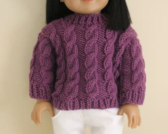 Purple Cable Knit Sweater for 18 inch dolls; fits American Girl