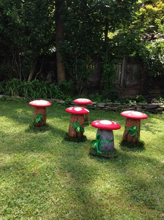 Mushroom Stools Set of FOUR Toadstool Red Kids Seats