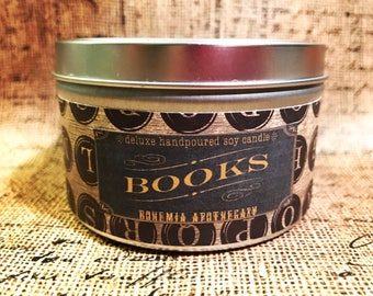 Books Soy Candle-8 oz -container candle-literary candle-candle tin