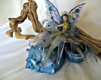 Sea fairy with conch shell_coastal chic table top decor with secret stash box_beach decor_fairies