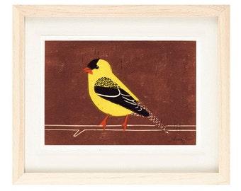 AMERICAN GOLDFINCH Linocut Reproduction Art Print: 4 x 6, 5 x 7