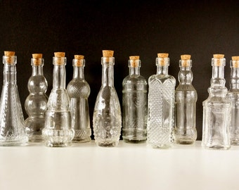 """Decorative Clear Glass Bottles with Corks, 5"""" tall (Set of 10) - Small bottles that are perfect for spices, bath salts,  DIY wedding vases"""
