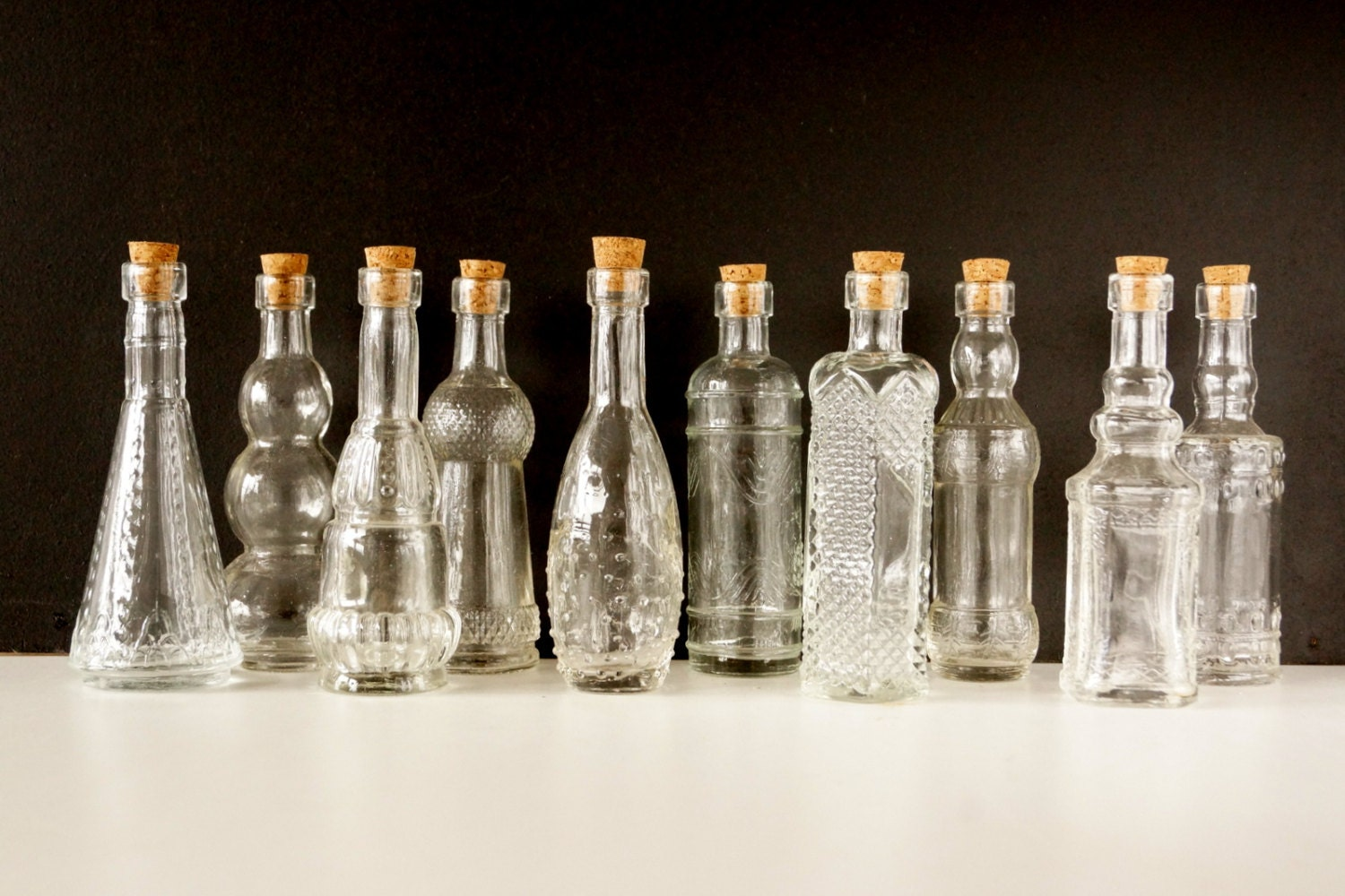 Decorative clear glass bottles with corks 5 tall set zoom floridaeventfo Images