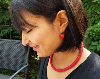 Red  textile choker necklace, minimalist design, contemporary jewelry for the modern woman