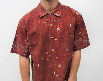 Red Hawaiian Print Shirt Size Medium