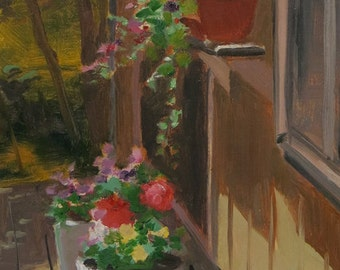 Flowers in Sunlight, Still Life of Flowers, View of Flowers on Porch, Oil Painting Of Flowers, Back Deck Painting With Flowers