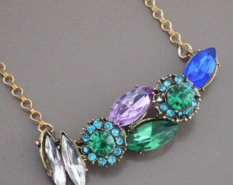 Vintage Jewelry - Vintage Necklace - Rhinestone Necklace - Emerald Necklace - Flower Necklace - Layered Necklace - handmade jewelry
