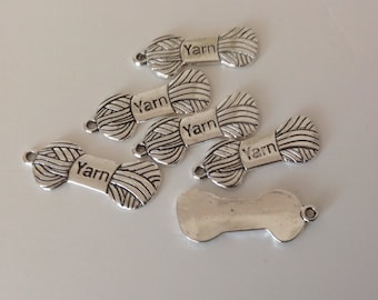 Yarn Charms Silver Metal Yarn Charms Scrap Booking Embelishments  - set of 6