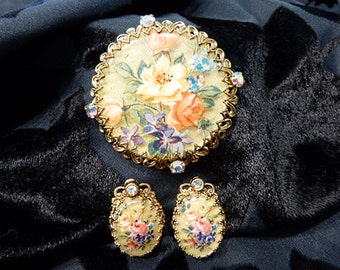 West Germany Brooch and Earring Set