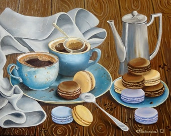 "Oil Painting Coffee Still Life - Coffee mood -  Art Original Painting On Canvas ""18x24"" (45cm x 60cm)"