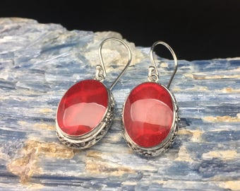 Red Shell Earrings // 925 Sterling Silver // Oval Bali Setting // Hand Cast // Natural Shell Earrings
