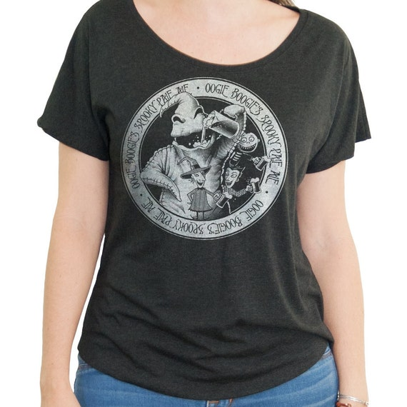 Nightmare Before Christmas Shirt - Oogie Boogie Shirt - Oogie Boogie Drinking a Beer Screen Printed on a Womens Dolman