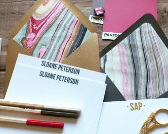 Pink and Black Marble Luxe Custom Stationery /  Set of (10)