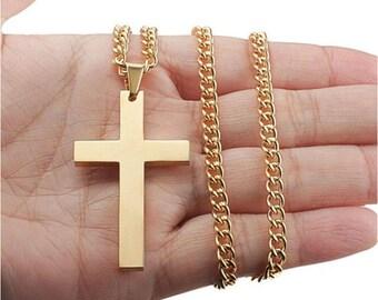 Gold Titanium Christian Cross Necklace - Crucifix Pendant -  Christian Jewelry