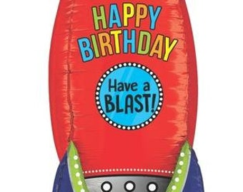 """Rocket Ship Balloon 36"""" Foil Mylar Outer Space Birthday Party Decorations Supplies"""