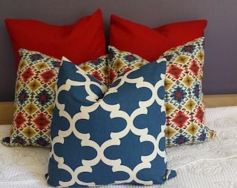 Decorative Throw Pillow Cushion Covers Denim Navy Red Yellow Diamond Quatrefoil-Fall Winter Xmas Thanksgiving Decor Choose Size/Color