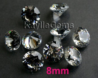 AAAAA 8mm Round Cubic Zirconia CZ Loose Stone Diamond Brilliant Cut - Diamond Clear - 4pcs