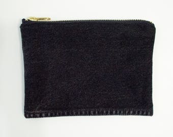 Black Denim Pouch/Brass Zipper- Hand Crafted from Salvaged Jeans