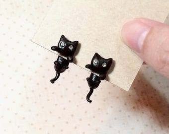 Black Cat Earrings, Two Piece Earrings, Two Part Earrings, Cat Stud Earrings, Cat clinging earrings, polymer clay cat, cat lover gifts