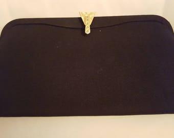 Vintage fabric black clutch