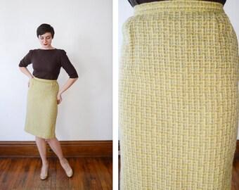1950s Chartreuse Wool Tweed Skirt - S