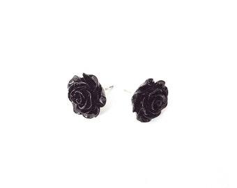 black rose earrings, rose earrings, black rose jewelry, gift for her, black rose studs, black earrings, gothic earrings, black stud earrings