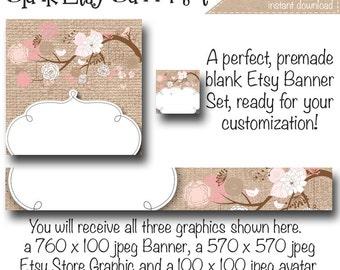 Etsy Banner Set - Cherry Blossom - Customize for your Store, DIY Cherry Tree Etsy Banner, Etsy Cover Photo