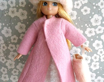 VINTAGE DOLL COAT in pink felt, teamed with faux fur hat and muff for slender 7-8inch/17-20cm dolls like Betsy McCall, Lottie, Lesney Ginny