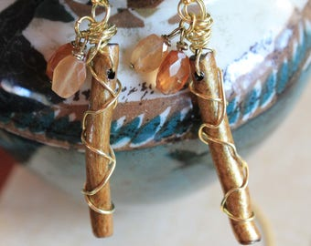 Golden Coral and Hessonite Dangles