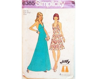 "Vintage 70's Simplicity 6385 Jiffy Backless Halter Neck Mid and Maxi Length Summer Sun Dress Sewing Pattern Size Bust 32.5"" UK 10"