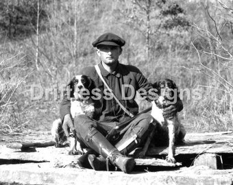 Vintage Man with Hunting Dogs