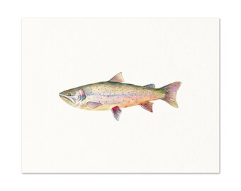 Bull Trout Watercolor Art Print. Trout Wall Art. Fish Art. Nature Painting. Angler Dad Gift. Trout Illustration. Realistic Trout Artwork.