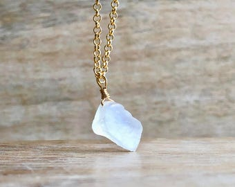 Raw Moonstone Necklace, Mens Gemstone Necklace, Rainbow Moonstone Pendant, Rough Stone Necklace, Gold Filled Chain, Valentines Day Gift Mens
