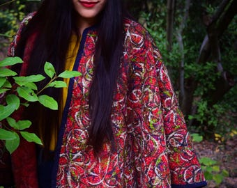 All Time Classic Outfit Women's Beautiful Red Wool Cape Chic Kimono Dress High quality Handmade – Full Length –
