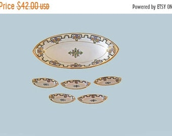 Memorial Day Sale SALE! Nippon Celery Dish and 5 Individual Salts Floral Geometric Art Deco Design Porcelain Tray Gold Moriage Collector Ite