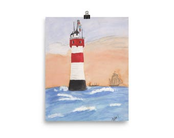 Lighthouse Watercolor Poster