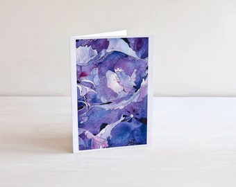 Purple Petals Abstract Watercolor Painting 5x7 Card | Greeting Card Blank Inside | Floral Art | Flower Painting Print | Garden Art Birthday