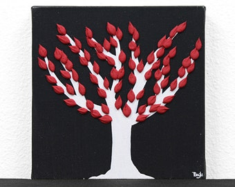 Black and White Canvas Art Mini, Textured Red Tree Painting - Mini 6x6