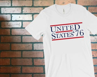 USA '76 Shirt - Patriotic Tee - Red, White, & Blue - 84 campaign - USA - 1776 - 4th of July