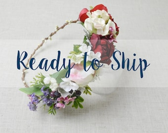 READY TO SHIP - Boho Flower Crown, Colorful Flower Crown, Silk Flower Crown, Boho Wedding, Wedding Flower Crown, Faux Flowers, Silk Flowers