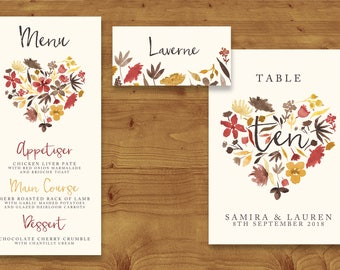 Cranberry and Mustard Watercolour Place Cards, Table Numbers, Menu Cards - Red Wedding - Table Name - Name Card - Wedding Stationery