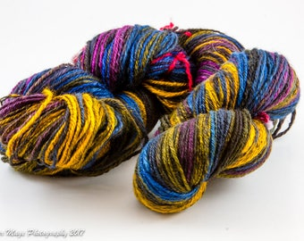 Striped Black Gold, 3-ply lace-weight, gold, black, blue, purple, OOAK