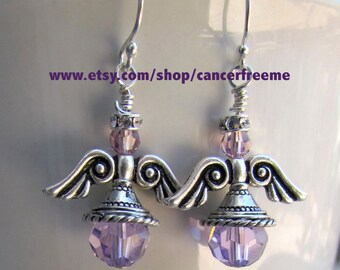 General Cancer Awareness Angel Earrings, Cancer Awareness, Jewelry, Purple, Crystals, Handmade, Angels, Gift for Her