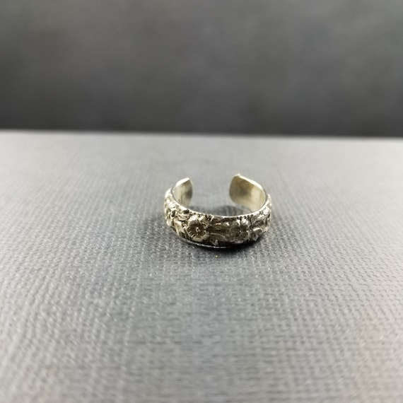 Wide Floral Rose Sterling Silver Toe Ring Embossed Toe ring body jewelry midi ring wide toe ring made in canada Woodland jewelry boho style