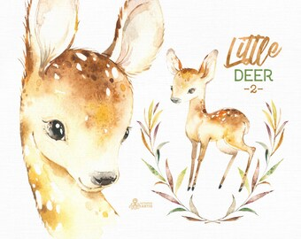 Little Deer 2. Watercolor animal clipart, floral wreath, roe, fawn, forest, card, leaves, country, nursery art, nature, realistic, spring