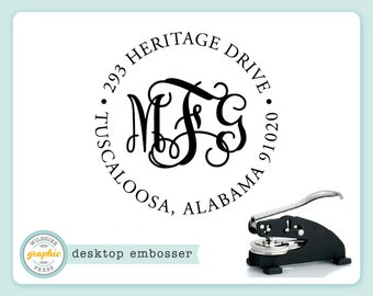 Embosser - INTERLOCKING MONOGRAM ADDRESS Style - Desk Model - Personalized Return Address - Embossing Seal Stamp - Wedding Housewarming Gift