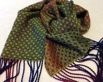 Handwoven Tencel Scarf, Purple Scarf, Woven Tencel Scarf, Handwoven Scarf, Purple Handwoven Scarf - #17-19 Chartreuse