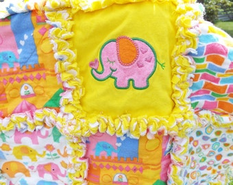 Baby Rag Quilt - Flannel Rag Quilt - Elephants - Applique - Pink Blue Yellow - Crib Toddler Quilt