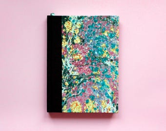 Sketchbook/Notebook with hand-marbled paper